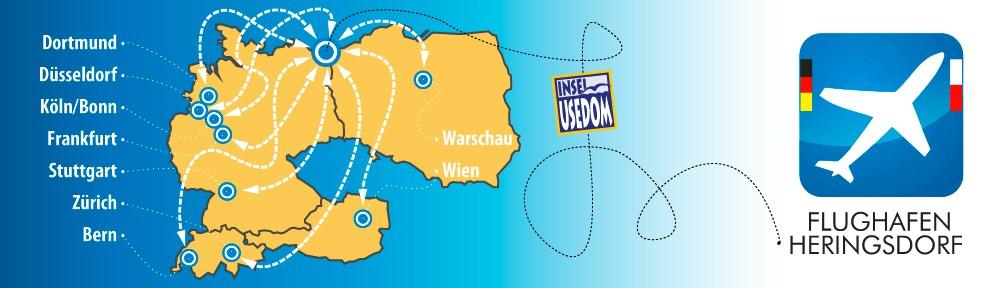 Fluglien zu  Insle Usedom , Urlaub auf Usedom Fliegen Heringsdorf